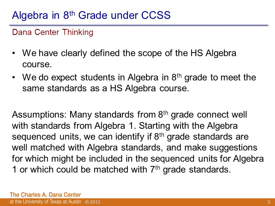 © 2012 Algebra in 8 th Grade under CCSS We have clearly defined the scope of the HS Algebra course.
