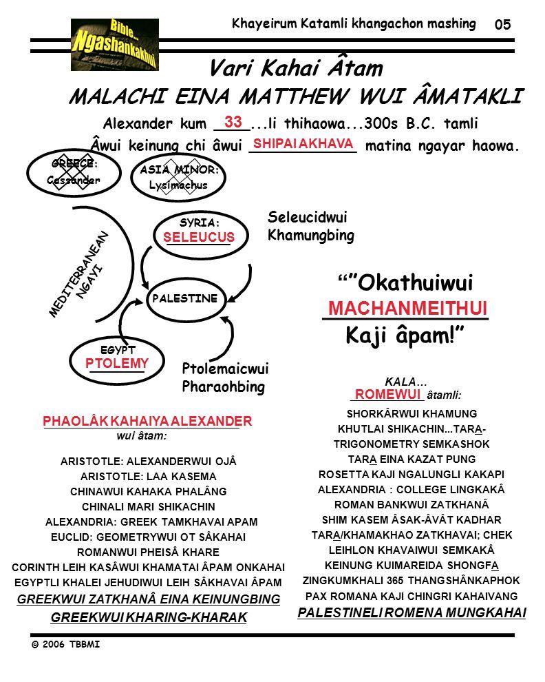 Khayeirum Katamli khangachon mashing © 2006 TBBMI 05 ARISTOTLE: ALEXANDERWUI OJÂ ARISTOTLE: LAA KASEMA CHINAWUI KAHAKA PHALÂNG CHINALI MARI SHIKACHIN ALEXANDRIA: GREEK TAMKHAVAI APAM EUCLID: GEOMETRYWUI OT SÂKAHAI ROMANWUI PHEISÂ KHARE CORINTH LEIH KASÂWUI KHAMATAI ÂPAM ONKAHAI EGYPTLI KHALEI JEHUDIWUI LEIH SÂKHAVAI ÂPAM GREEKWUI ZATKHANÂ EINA KEINUNGBING GREEKWUI KHARING-KHARAK SHORKÂRWUI KHAMUNG KHUTLAI SHIKACHIN...TARA- TRIGONOMETRY SEMKASHOK TARA EINA KAZAT PUNG ROSETTA KAJI NGALUNGLI KAKAPI ALEXANDRIA : COLLEGE LINGKAKÂ ROMAN BANKWUI ZATKHANÂ SHIM KASEM ÂSAK-ÂVÂT KADHAR TARA/KHAMAKHAO ZATKHAVAI; CHEK LEIHLON KHAVAIWUI SEMKAKÂ KEINUNG KUIMAREIDA SHONGFA ZINGKUMKHALI 365 THANGSHÂNKAPHOK PAX ROMANA KAJI CHINGRI KAHAIVANG PALESTINELI ROMENA MUNGKAHAI KALA… ____________ âtamli: ________________________________ wui âtam: Alexander kum ____...li thihaowa...300s B.C.
