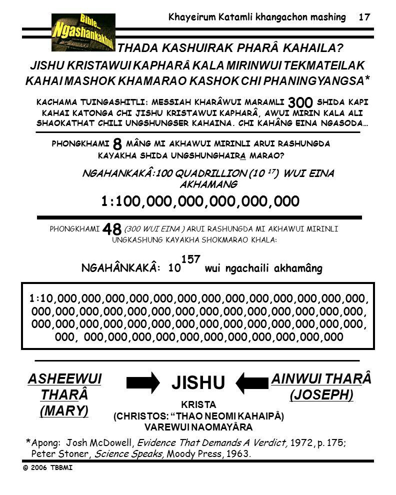 Khayeirum Katamli khangachon mashing © 2006 TBBMI 17 JISHU KRISTAWUI KAPHAR Â KALA MIRINWUI TEKMATEILAK KAHAI MASHOK KHAMARAO KASHOK CHI PHANINGYANGSA * ASHEEWUI THARÂ (MARY) AINWUI THARÂ (JOSEPH) JISHU KRISTA (CHRISTOS: THAO NEOMI KAHAIPÂ) VAREWUI NAOMAYÂRA THADA KASHUIRAK PHARÂ KAHAILA.