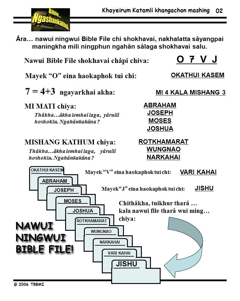 Khayeirum Katamli khangachon mashing © 2006 TBBMI Âra… nawui ningwui Bible File chi shokhavai, nakhalatta sâyangpai maningkha mili ningphun ngahân sâlaga shokhavai salu.
