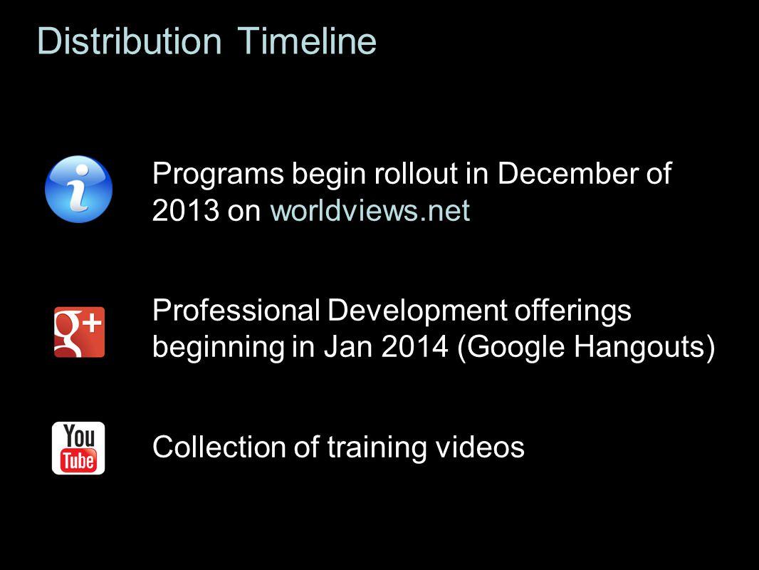 Distribution Timeline Programs begin rollout in December of 2013 on worldviews.net Professional Development offerings beginning in Jan 2014 (Google Ha