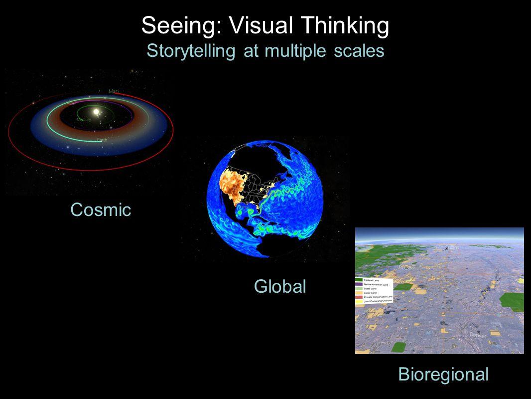 Seeing: Visual Thinking Storytelling at multiple scales Cosmic Bioregional Global