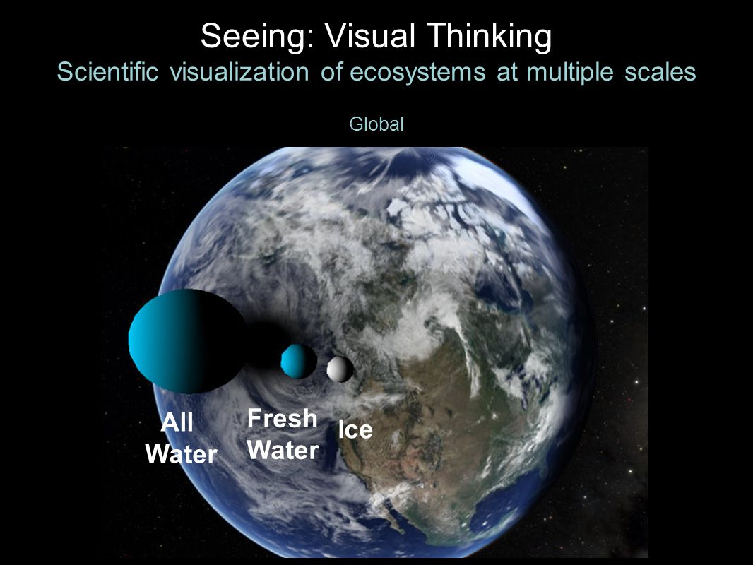 Seeing: Visual Thinking Scientific visualization of ecosystems at multiple scales Global All Water Fresh Water Ice