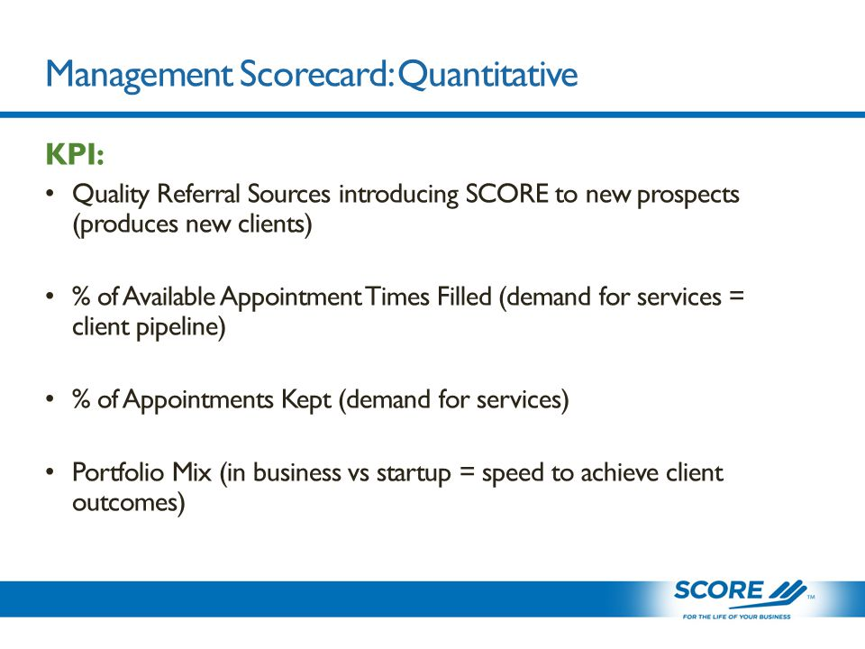 Management Scorecard: Quantitative KPI: Quality Referral Sources introducing SCORE to new prospects (produces new clients) % of Available Appointment Times Filled (demand for services = client pipeline) % of Appointments Kept (demand for services) Portfolio Mix (in business vs startup = speed to achieve client outcomes)