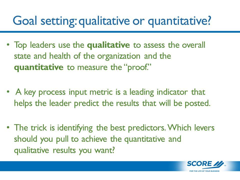 Goal setting: qualitative or quantitative.