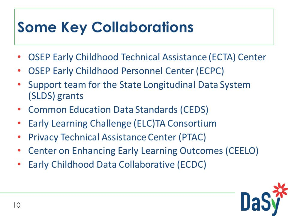 10 Some Key Collaborations OSEP Early Childhood Technical Assistance (ECTA) Center OSEP Early Childhood Personnel Center (ECPC) Support team for the State Longitudinal Data System (SLDS) grants Common Education Data Standards (CEDS) Early Learning Challenge (ELC)TA Consortium Privacy Technical Assistance Center (PTAC) Center on Enhancing Early Learning Outcomes (CEELO) Early Childhood Data Collaborative (ECDC)