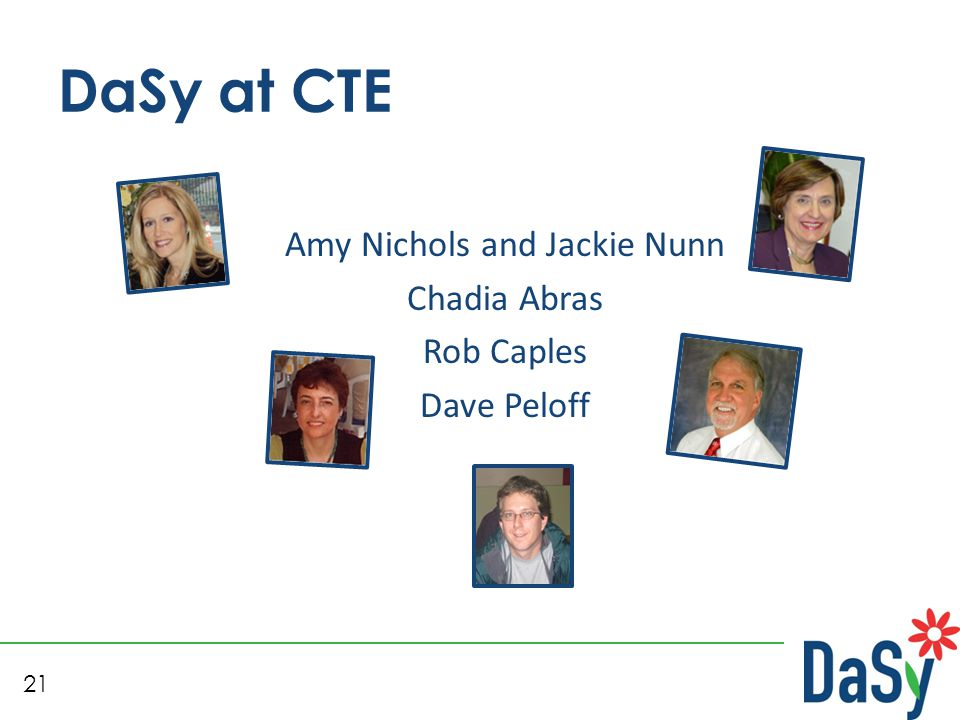21 DaSy at CTE Amy Nichols and Jackie Nunn Chadia Abras Rob Caples Dave Peloff