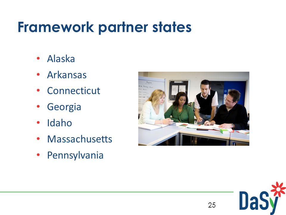 25 Framework partner states Alaska Arkansas Connecticut Georgia Idaho Massachusetts Pennsylvania