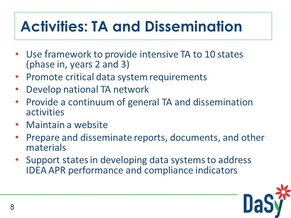 8 Activities: TA and Dissemination Use framework to provide intensive TA to 10 states (phase in, years 2 and 3) Promote critical data system requireme