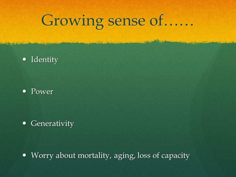 Growing sense of…… Identity Identity Power Power Generativity Generativity Worry about mortality, aging, loss of capacity Worry about mortality, aging, loss of capacity