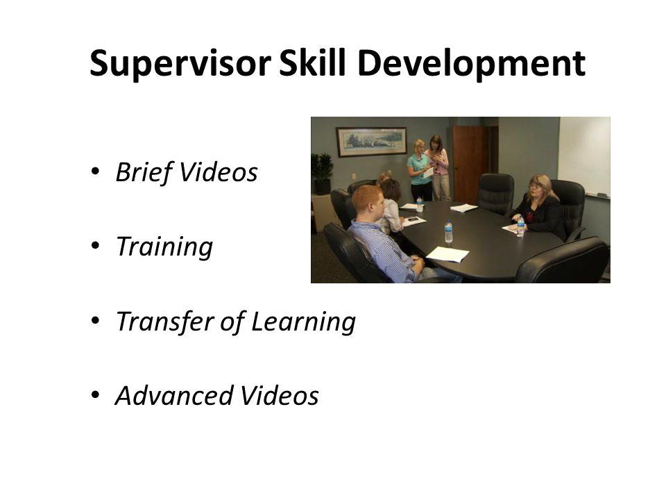 Supervisor Skill Development Brief Videos Training Transfer of Learning Advanced Videos