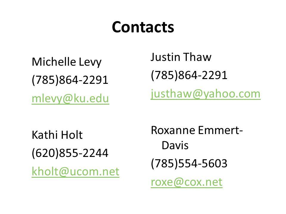 Contacts Michelle Levy (785)864-2291 mlevy@ku.edu Kathi Holt (620)855-2244 kholt@ucom.net Justin Thaw (785)864-2291 justhaw@yahoo.com Roxanne Emmert- Davis (785)554-5603 roxe@cox.net