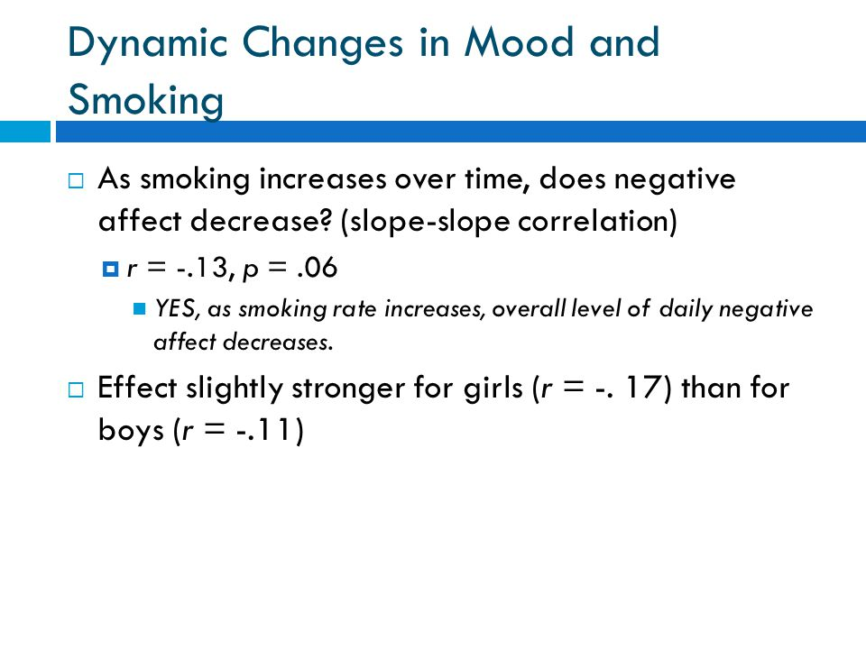 Dynamic Changes in Mood and Smoking  As smoking increases over time, does negative affect decrease.