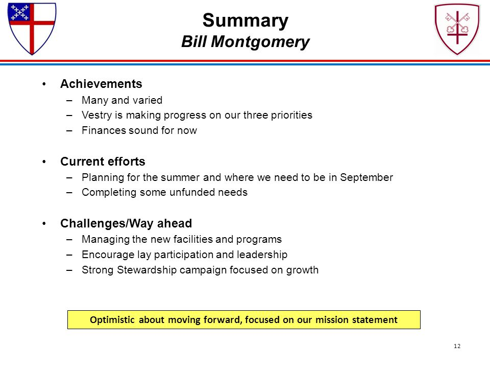 Summary Bill Montgomery Achievements –Many and varied –Vestry is making progress on our three priorities –Finances sound for now Current efforts –Plan