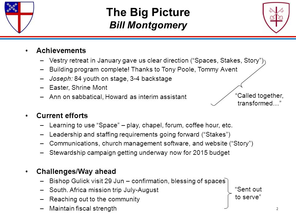 "The Big Picture Bill Montgomery Achievements –Vestry retreat in January gave us clear direction (""Spaces, Stakes, Story"") –Building program complete!"