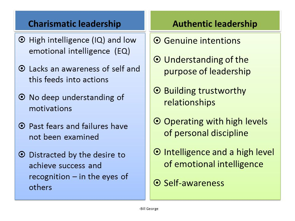 Charismatic leadership  High intelligence (IQ) and low emotional intelligence (EQ)  Lacks an awareness of self and this feeds into actions  No deep understanding of motivations  Past fears and failures have not been examined  Distracted by the desire to achieve success and recognition – in the eyes of others  High intelligence (IQ) and low emotional intelligence (EQ)  Lacks an awareness of self and this feeds into actions  No deep understanding of motivations  Past fears and failures have not been examined  Distracted by the desire to achieve success and recognition – in the eyes of others Authentic leadership  Genuine intentions  Understanding of the purpose of leadership  Building trustworthy relationships  Operating with high levels of personal discipline  Intelligence and a high level of emotional intelligence  Self-awareness  Genuine intentions  Understanding of the purpose of leadership  Building trustworthy relationships  Operating with high levels of personal discipline  Intelligence and a high level of emotional intelligence  Self-awareness -Bill George
