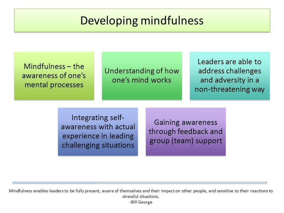 Developing mindfulness Mindfulness – the awareness of one's mental processes Understanding of how one's mind works Leaders are able to address challenges and adversity in a non-threatening way Integrating self- awareness with actual experience in leading challenging situations Gaining awareness through feedback and group (team) support Mindfulness enables leaders to be fully present, aware of themselves and their impact on other people, and sensitive to their reactions to stressful situations.
