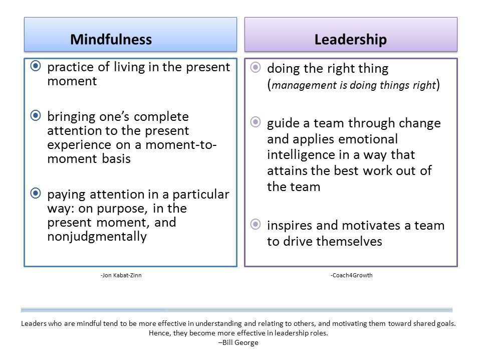 Mindfulness  practice of living in the present moment  bringing one's complete attention to the present experience on a moment-to- moment basis  paying attention in a particular way: on purpose, in the present moment, and nonjudgmentally Leadership  doing the right thing ( management is doing things right )  guide a team through change and applies emotional intelligence in a way that attains the best work out of the team  inspires and motivates a team to drive themselves -Jon Kabat-Zinn Leaders who are mindful tend to be more effective in understanding and relating to others, and motivating them toward shared goals.