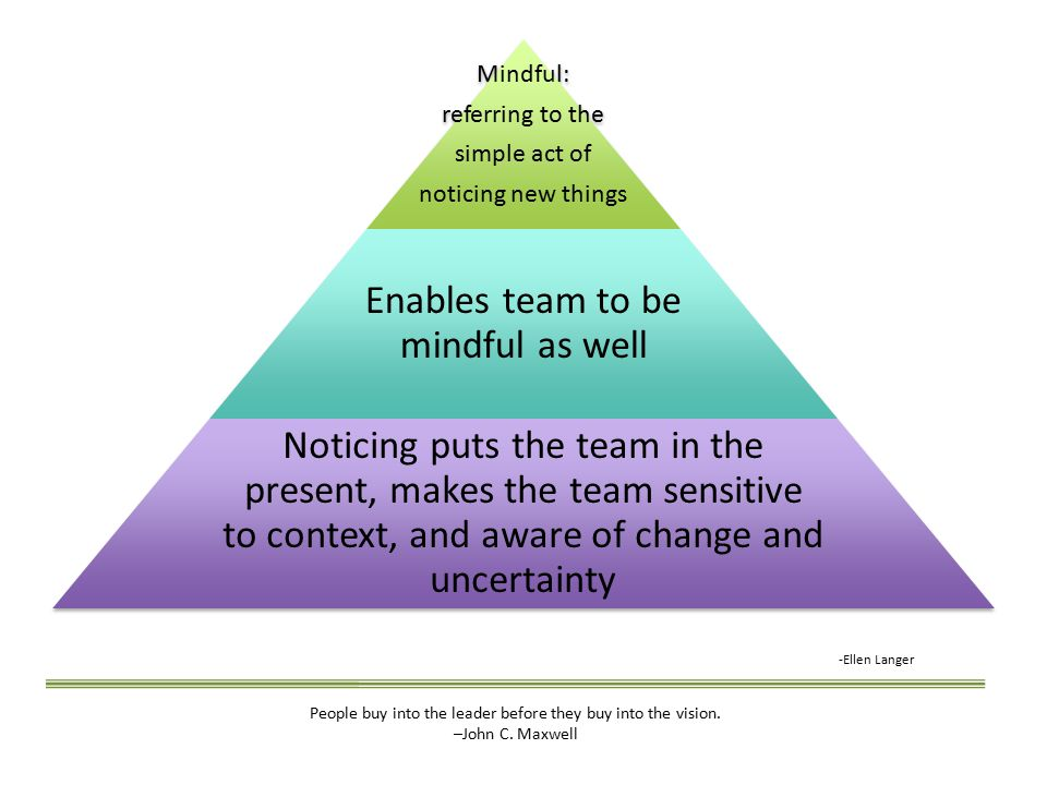 Mindful: referring to the simple act of noticing new things Enables team to be mindful as well Noticing puts the team in the present, makes the team sensitive to context, and aware of change and uncertainty -Ellen Langer People buy into the leader before they buy into the vision.