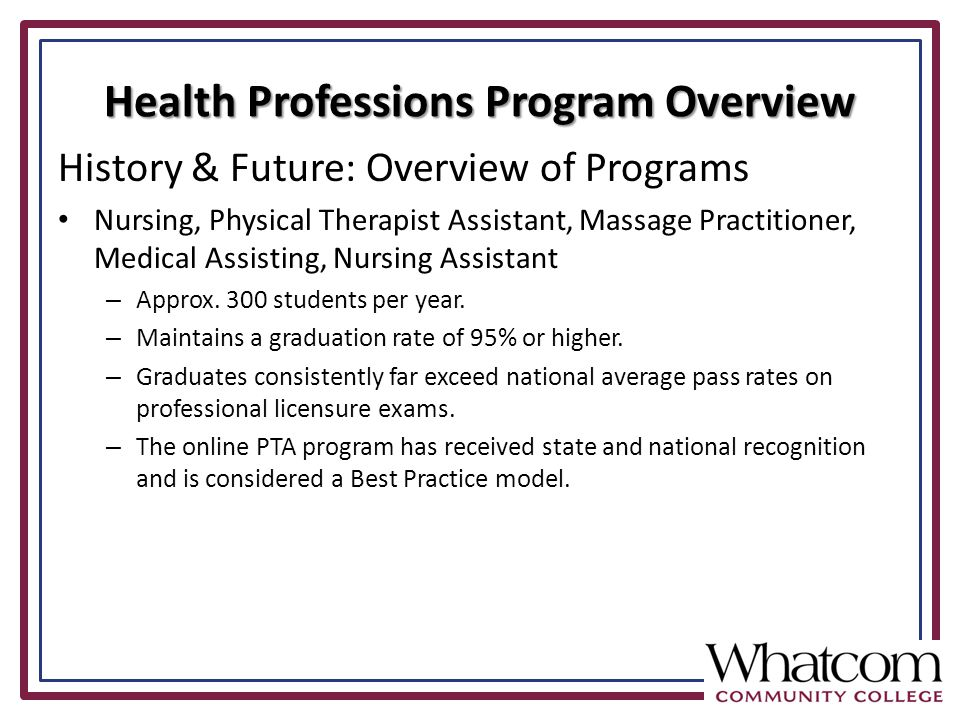 History & Future: Overview of Programs Nursing, Physical Therapist Assistant, Massage Practitioner, Medical Assisting, Nursing Assistant – Approx.