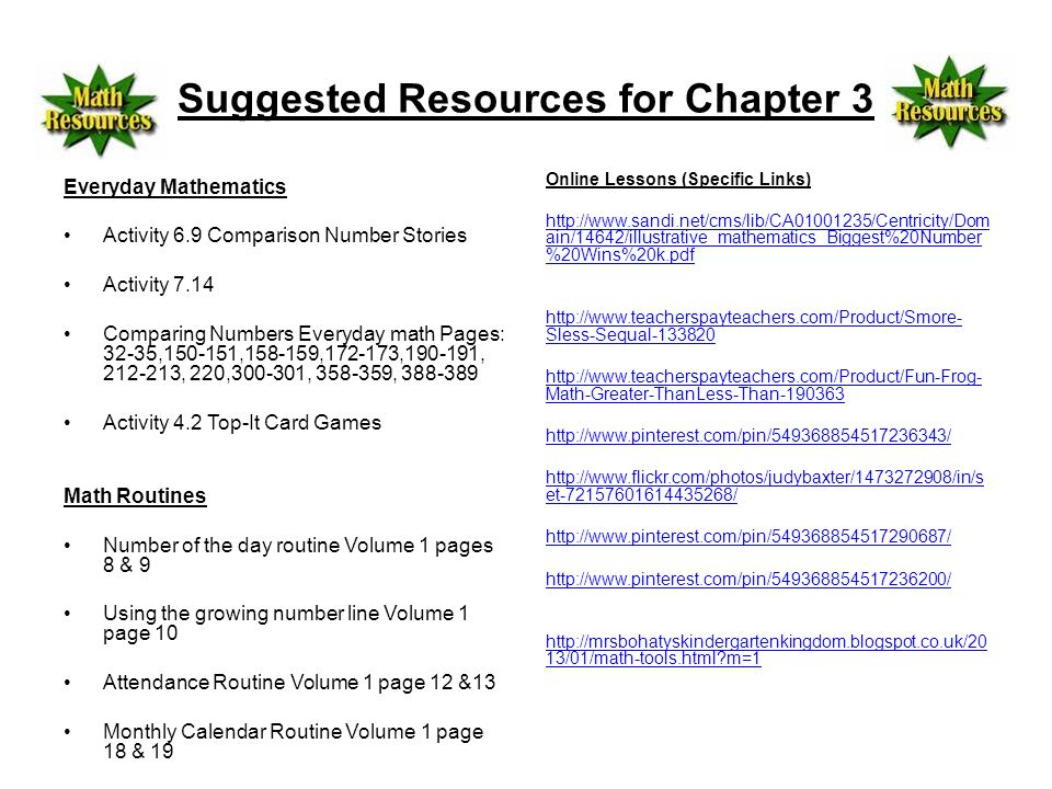 Suggested Resources for Chapter 3 Everyday Mathematics Activity 6.9 Comparison Number Stories Activity 7.14 Comparing Numbers Everyday math Pages: 32-35,150-151,158-159,172-173,190-191, 212-213, 220,300-301, 358-359, 388-389 Activity 4.2 Top-It Card Games Math Routines Number of the day routine Volume 1 pages 8 & 9 Using the growing number line Volume 1 page 10 Attendance Routine Volume 1 page 12 &13 Monthly Calendar Routine Volume 1 page 18 & 19 Online Lessons (Specific Links) http://www.sandi.net/cms/lib/CA01001235/Centricity/Dom ain/14642/illustrative_mathematics_Biggest%20Number %20Wins%20k.pdf http://www.teacherspayteachers.com/Product/Smore- Sless-Sequal-133820 http://www.teacherspayteachers.com/Product/Fun-Frog- Math-Greater-ThanLess-Than-190363 http://www.pinterest.com/pin/549368854517236343/ http://www.flickr.com/photos/judybaxter/1473272908/in/s et-72157601614435268/ http://www.pinterest.com/pin/549368854517290687/ http://www.pinterest.com/pin/549368854517236200/ http://mrsbohatyskindergartenkingdom.blogspot.co.uk/20 13/01/math-tools.html m=1
