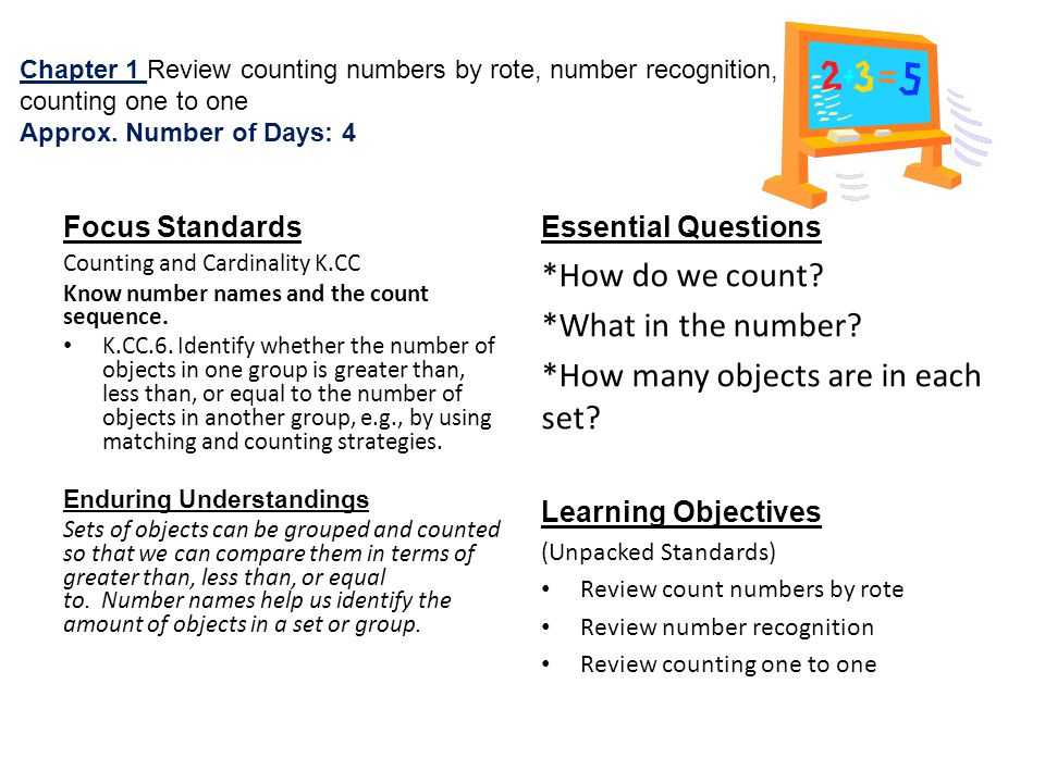 Chapter 1 Review counting numbers by rote, number recognition, counting one to one Approx.