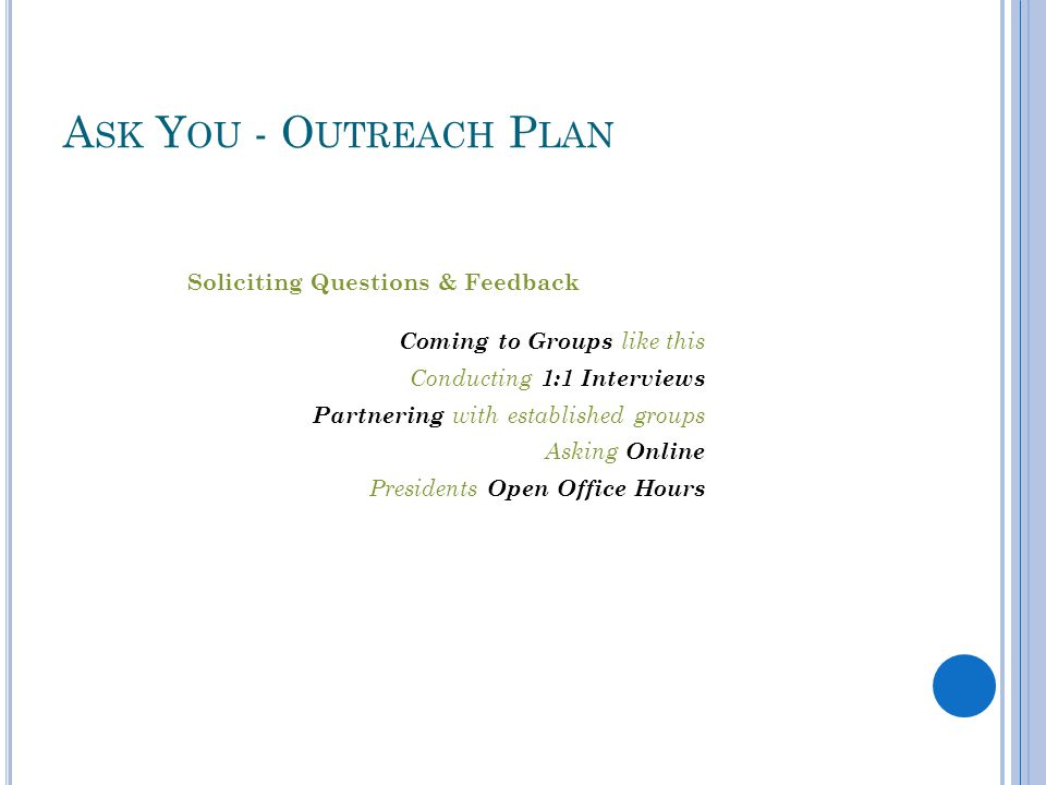 Soliciting Questions & Feedback Coming to Groups like this Conducting 1:1 Interviews Partnering with established groups Asking Online Presidents Open Office Hours A SK Y OU - O UTREACH P LAN