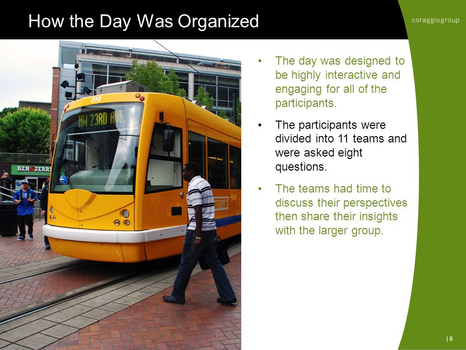 How the Day Was Organized The day was designed to be highly interactive and engaging for all of the participants.