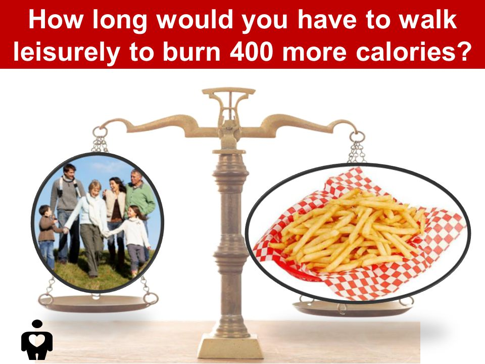 How long would you have to walk leisurely to burn 400 more calories