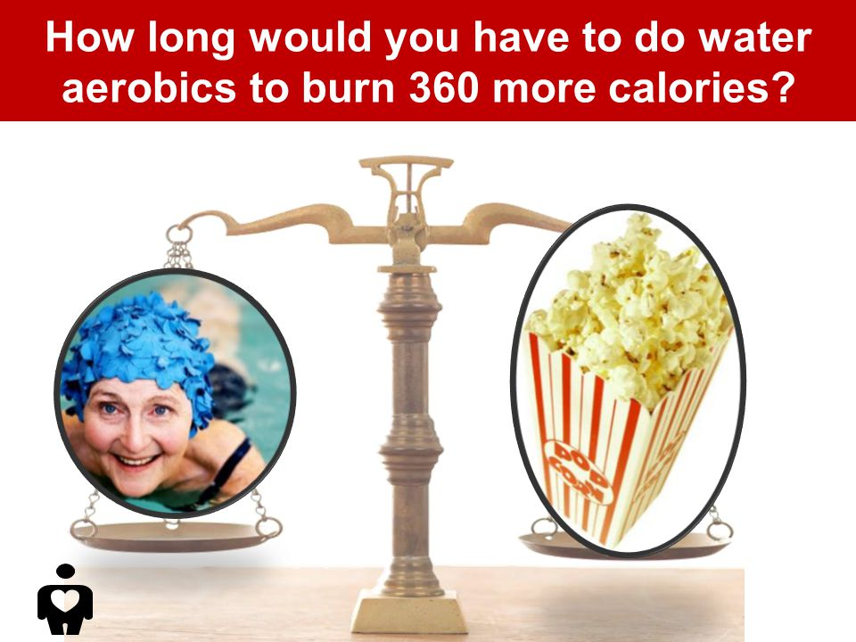 How long would you have to do water aerobics to burn 360 more calories