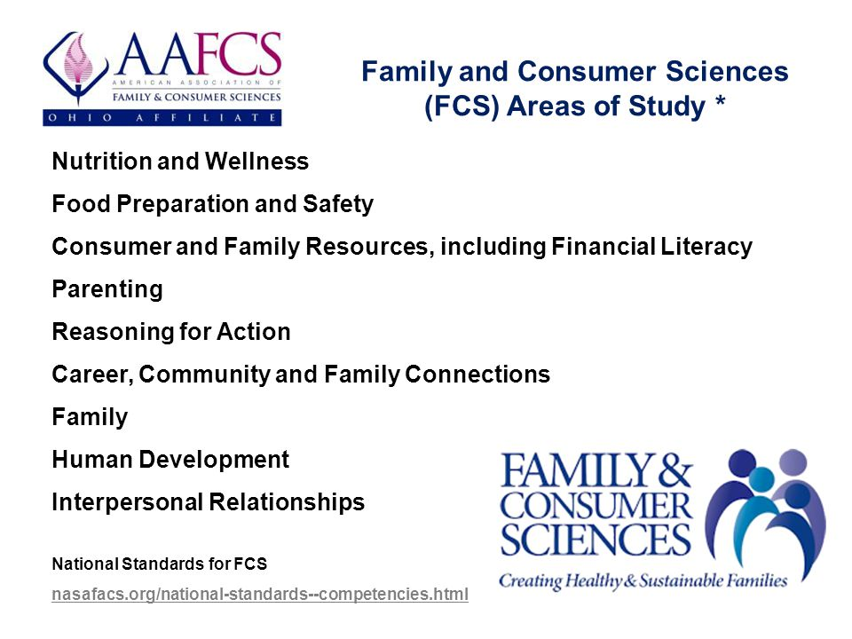 Family and Consumer Sciences (FCS) Areas of Study * Nutrition and Wellness Food Preparation and Safety Consumer and Family Resources, including Financial Literacy Parenting Reasoning for Action Career, Community and Family Connections Family Human Development Interpersonal Relationships National Standards for FCS nasafacs.org/national-standards--competencies.html