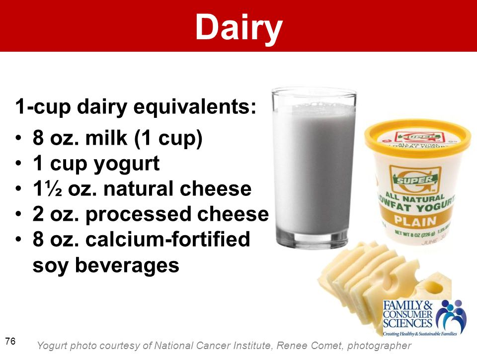 Dairy 1-cup dairy equivalents: 8 oz. milk (1 cup) 1 cup yogurt 1½ oz.