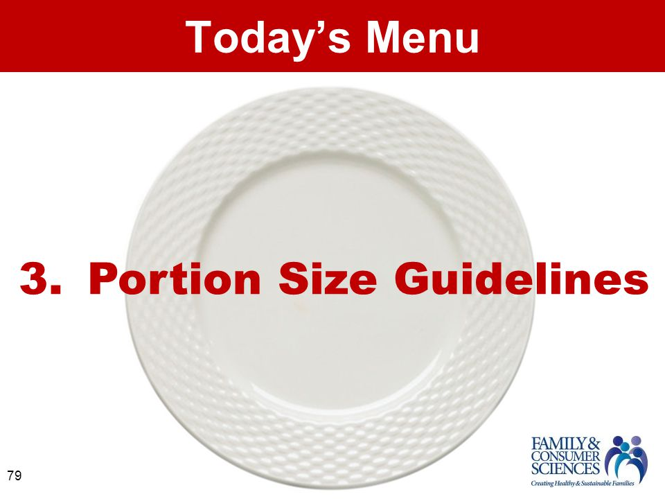 79 Today's Menu 3. Portion Size Guidelines