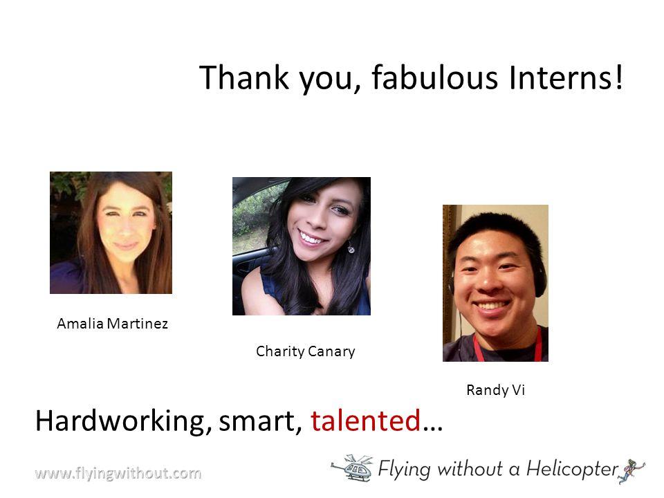 Thank you, fabulous Interns! Amalia Martinez Randy Vi Charity Canary Hardworking, smart, talented…