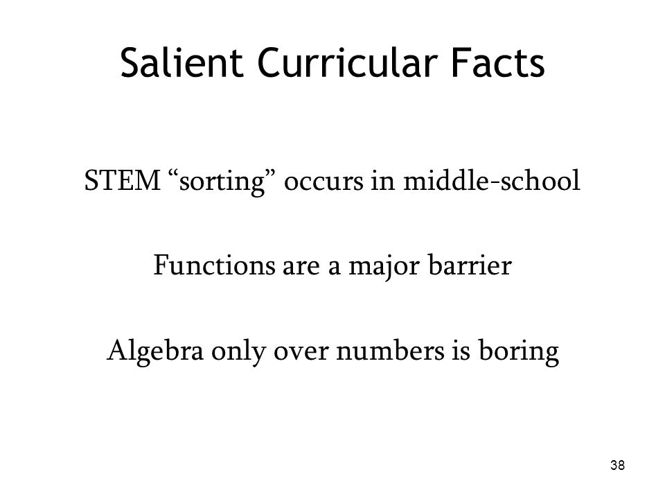 Salient Curricular Facts STEM sorting occurs in middle-school Functions are a major barrier Algebra only over numbers is boring 38