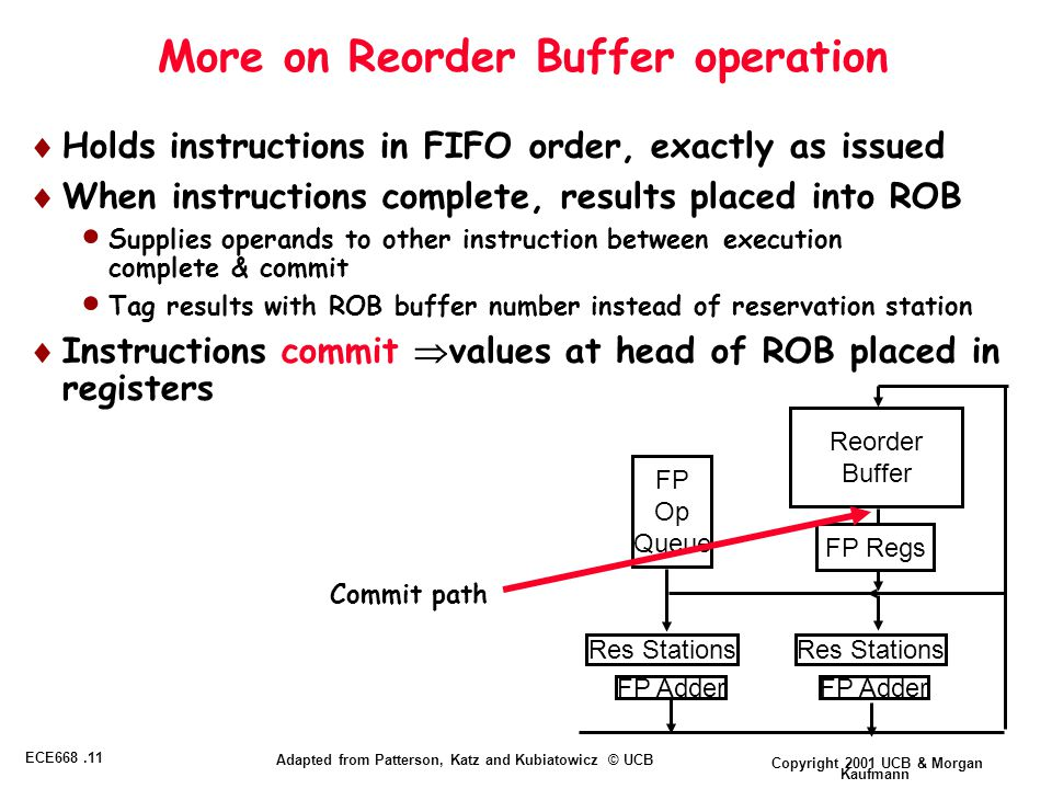 Copyright 2001 UCB & Morgan Kaufmann ECE668.11 Adapted from Patterson, Katz and Kubiatowicz © UCB More on Reorder Buffer operation  Holds instructions in FIFO order, exactly as issued  When instructions complete, results placed into ROB  Supplies operands to other instruction between execution complete & commit  Tag results with ROB buffer number instead of reservation station  Instructions commit  values at head of ROB placed in registers Reorder Buffer FP Op Queue FP Adder Res Stations FP Regs Commit path