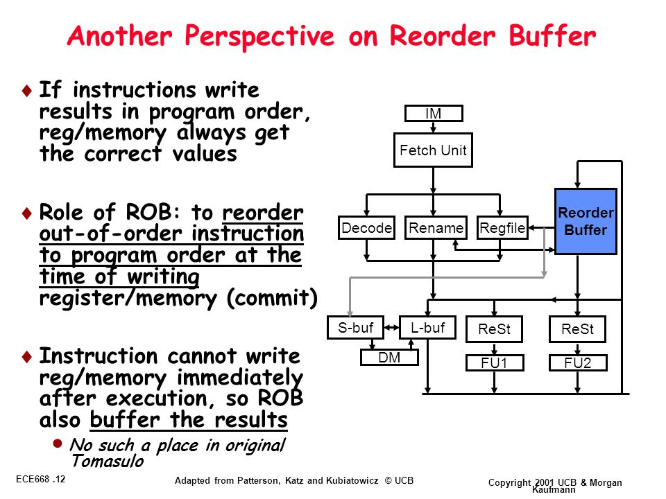 Copyright 2001 UCB & Morgan Kaufmann ECE668.12 Adapted from Patterson, Katz and Kubiatowicz © UCB Another Perspective on Reorder Buffer  If instructions write results in program order, reg/memory always get the correct values  Role of ROB: to reorder out-of-order instruction to program order at the time of writing register/memory (commit)  Instruction cannot write reg/memory immediately after execution, so ROB also buffer the results  No such a place in original Tomasulo Reorder Buffer Decode FU1FU2 ReSt Fetch Unit Rename L-bufS-buf DM Regfile IM