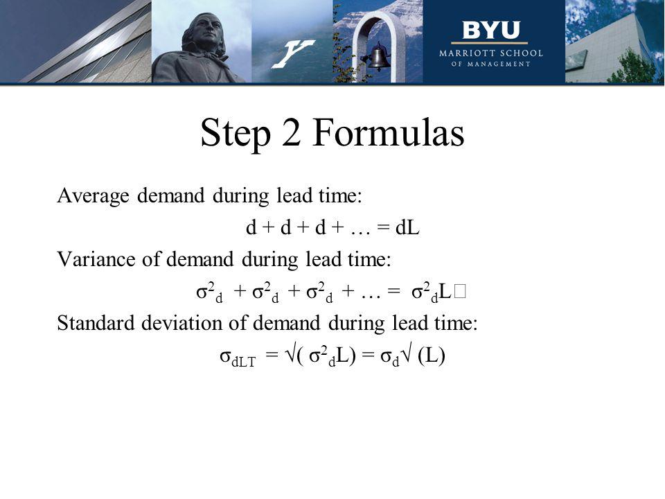Step 2 Formulas Average demand during lead time: d + d + d + … = dL Variance of demand during lead time: σ 2 d + σ 2 d + σ 2 d + … = σ 2 d L Standard