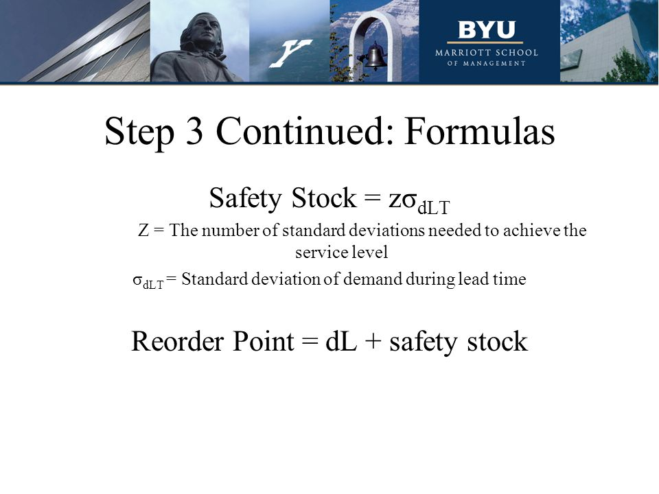 Step 3 Continued: Formulas Safety Stock = zσ dLT Z = The number of standard deviations needed to achieve the service level σ dLT = Standard deviation of demand during lead time Reorder Point = dL + safety stock