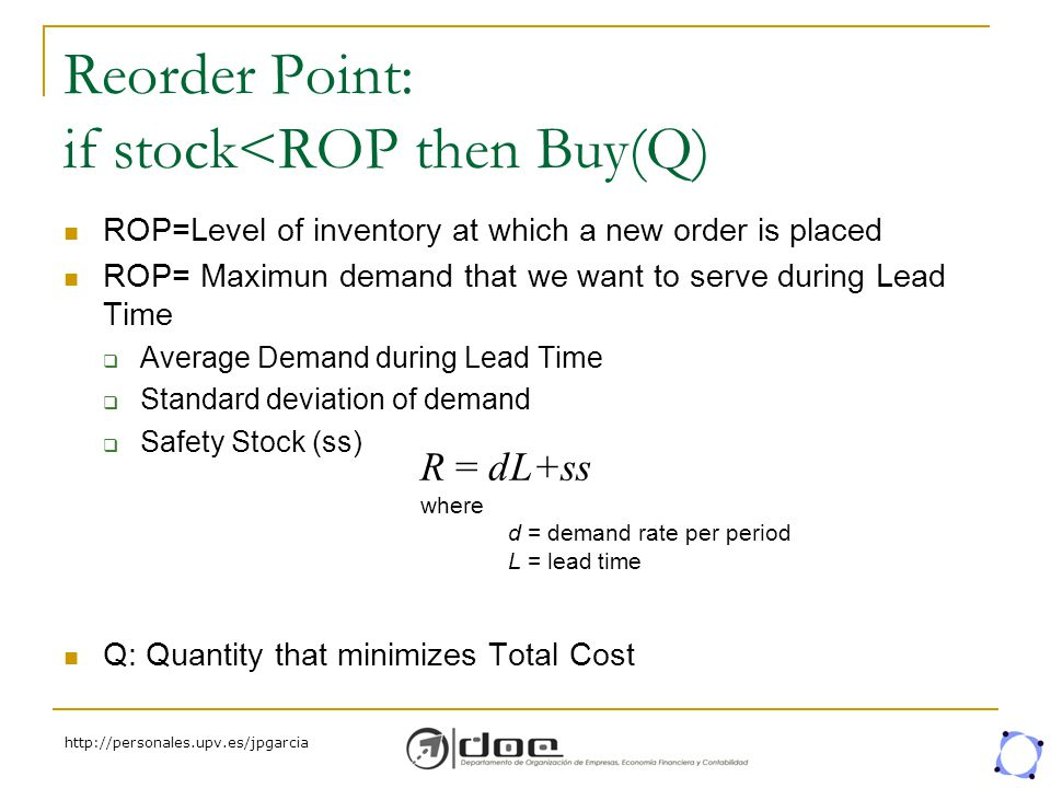 http://personales.upv.es/jpgarcia Reorder Point: if stock<ROP then Buy(Q) ROP=Level of inventory at which a new order is placed ROP= Maximun demand th