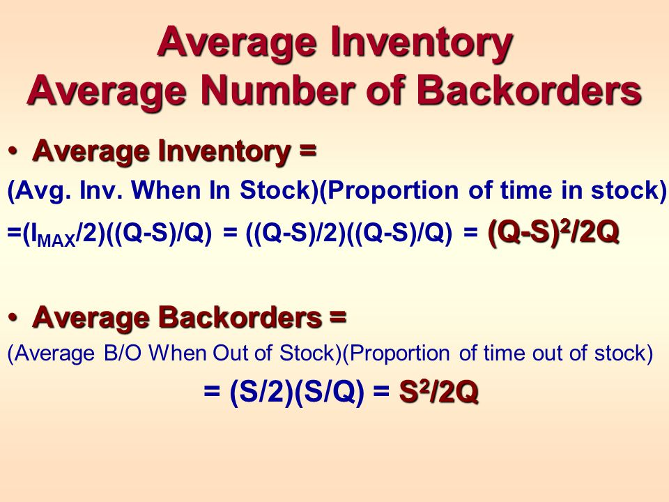 Average Inventory Average Number of Backorders Average Inventory =Average Inventory = (Avg.
