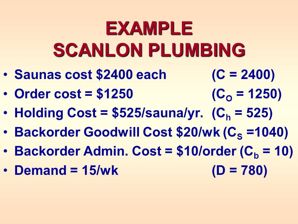 EXAMPLE SCANLON PLUMBING Saunas cost $2400 each (C = 2400) Order cost = $1250(C O = 1250) Holding Cost = $525/sauna/yr.(C h = 525) Backorder Goodwill Cost $20/wk (C S =1040) Backorder Admin.