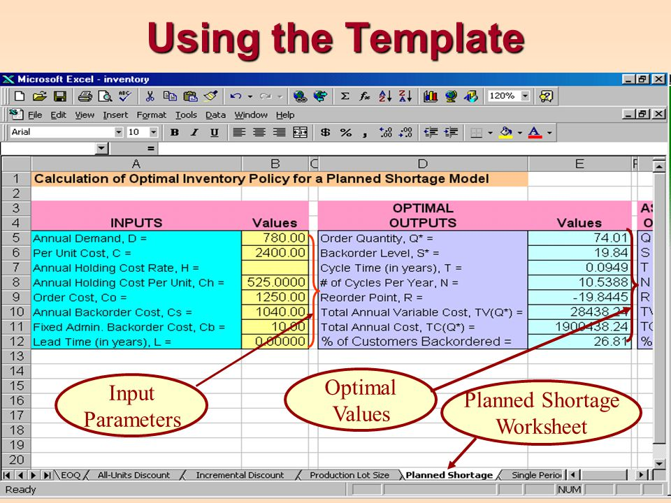 Using the Template Planned Shortage Worksheet Input Parameters Optimal Values