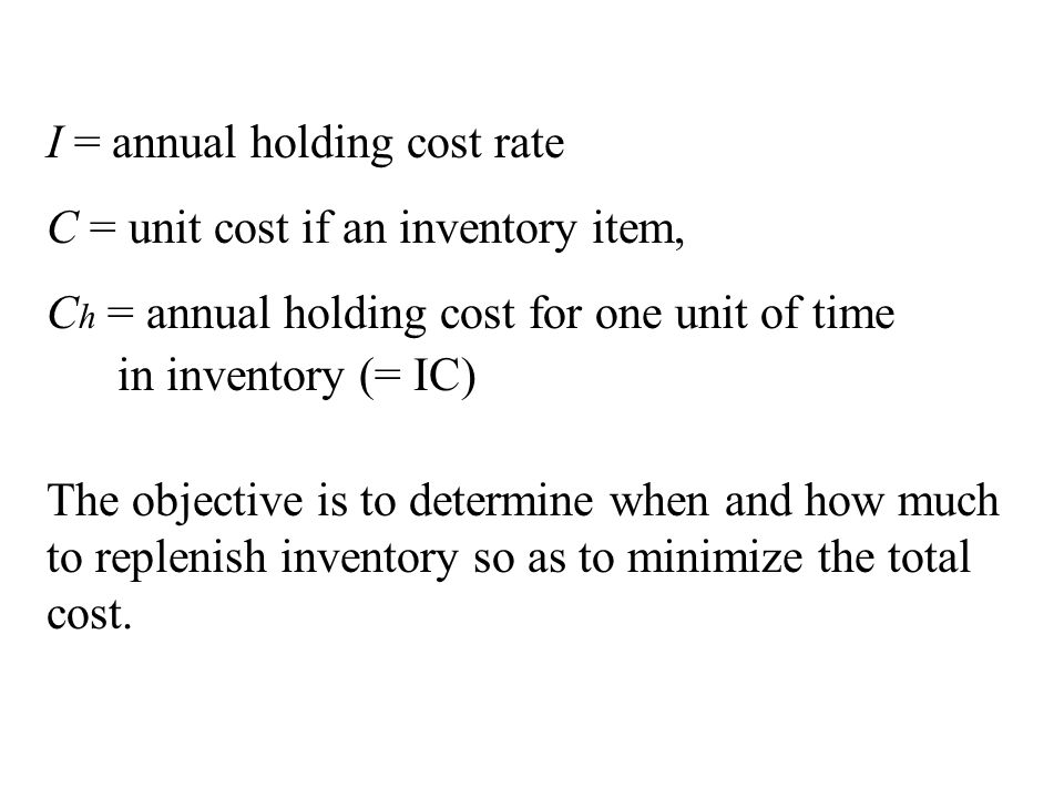 I = annual holding cost rate C = unit cost if an inventory item, C h = annual holding cost for one unit of time in inventory (= IC) The objective is to determine when and how much to replenish inventory so as to minimize the total cost.