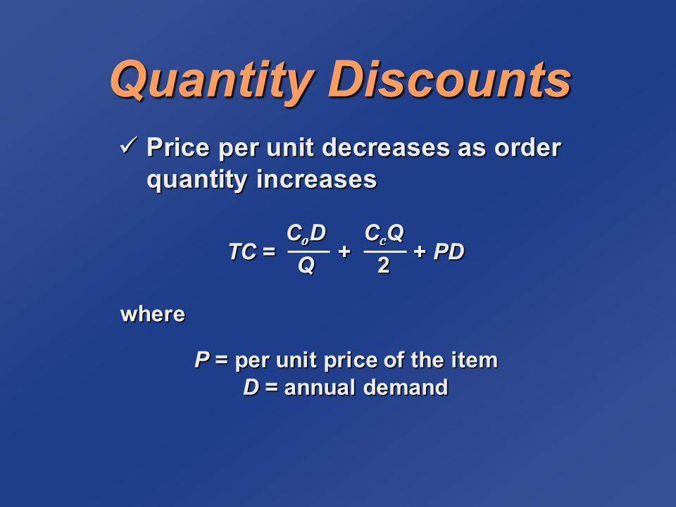 Quantity Discounts Price per unit decreases as order quantity increases Price per unit decreases as order quantity increases TC = + + PD CoDCoDQQCoDCoDQQQ CcQCcQ22CcQCcQ222 where P = per unit price of the item D = annual demand