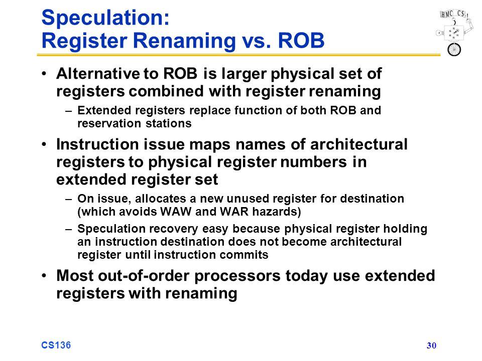 CS136 30 Speculation: Register Renaming vs.