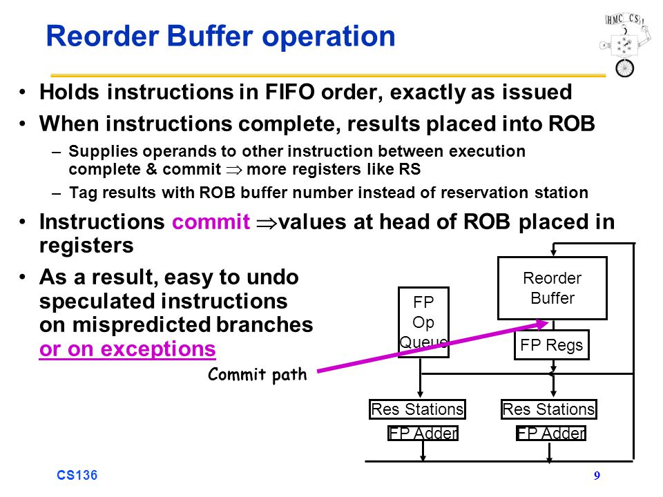 CS136 9 Reorder Buffer operation Holds instructions in FIFO order, exactly as issued When instructions complete, results placed into ROB –Supplies operands to other instruction between execution complete & commit  more registers like RS –Tag results with ROB buffer number instead of reservation station Instructions commit  values at head of ROB placed in registers As a result, easy to undo speculated instructions on mispredicted branches or on exceptions Reorder Buffer FP Op Queue FP Adder Res Stations FP Regs Commit path