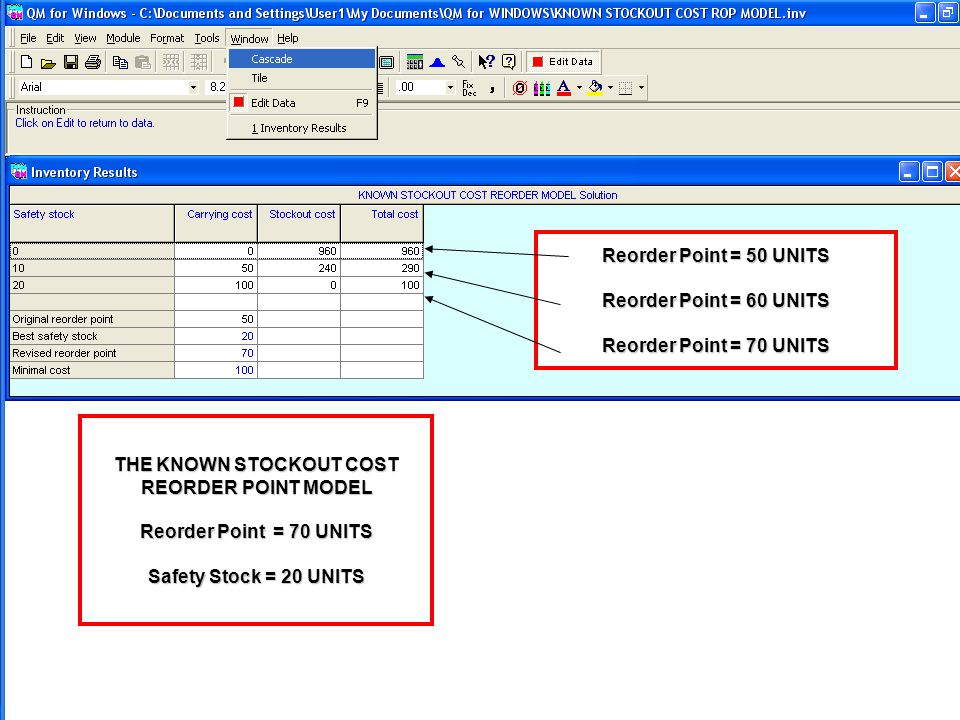THE KNOWN STOCKOUT COST REORDER POINT MODEL Reorder Point = 70 UNITS Safety Stock = 20 UNITS Reorder Point = 50 UNITS Reorder Point = 60 UNITS Reorder