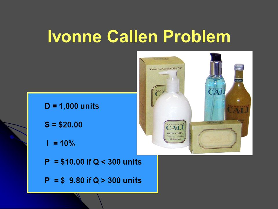 Ivonne Callen Problem To minimize total costs, how many units should Ivonne order each time she places an order .