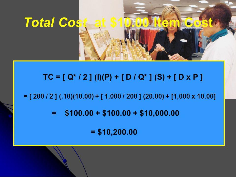 Total Cost at $9.80 Item Cost TC = [ Q* / 2 ] (I)(P) + [ D / Q* ] (S) + [ D x P ] = [ 300 / 2 ] (.10)(9.80) + [ 1,000 / 300 ] (20.00) + [1,000 x 9.80] = $147.00 + $66.67 + $9,800.00 = $10,013.67